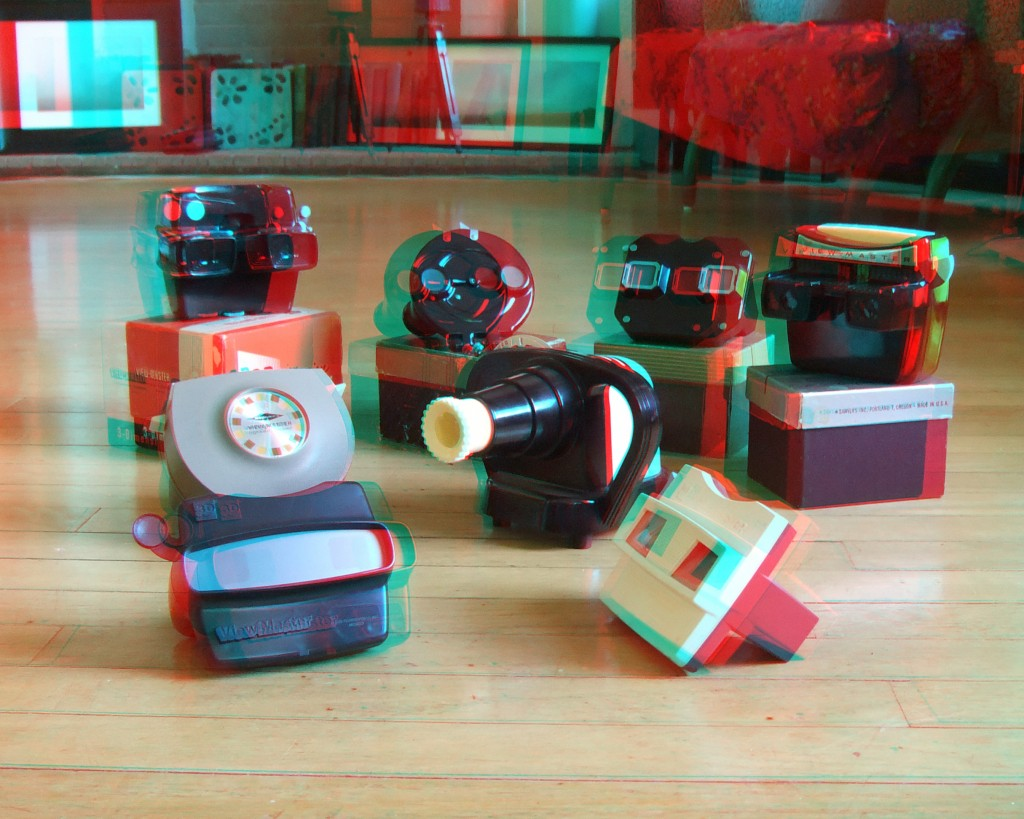 A 3D photo of some of my View-Master viewers.