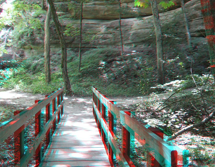 A walkway in Starved Rock State Park in 3D