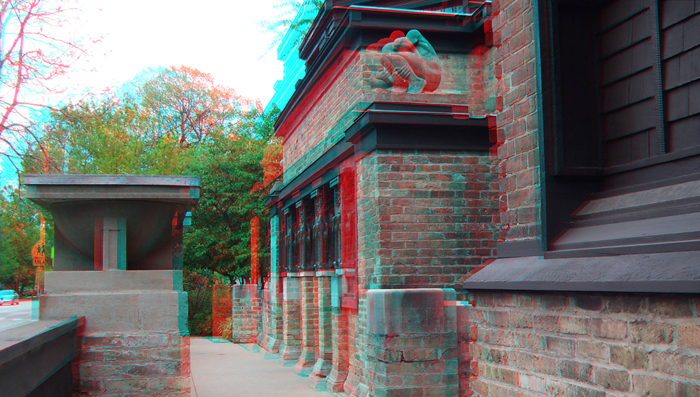 3D Anaglyph of the Frank Lloyd Wright Home & Studio in Oak Park, IL