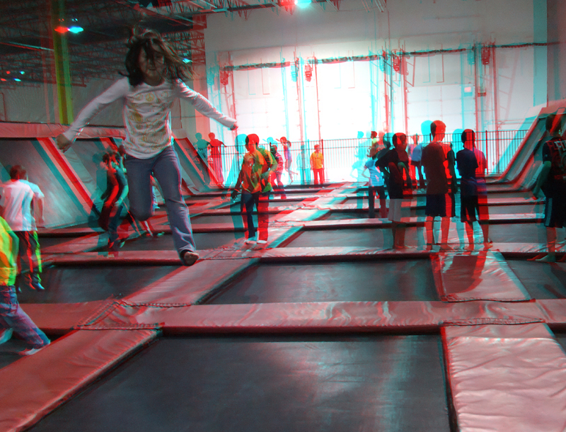 Anaglyph 3D image of my niece at Xtreme Trampolines
